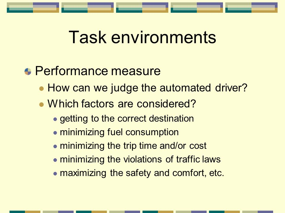 Task environments Performance measure