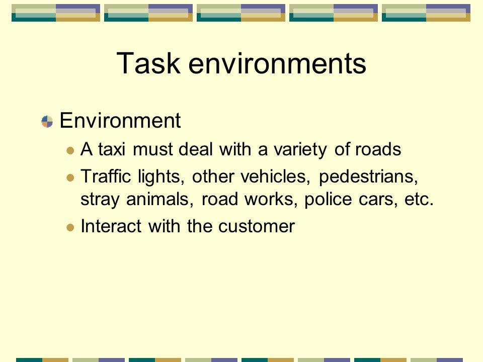 Task environments Environment A taxi must deal with a variety of roads