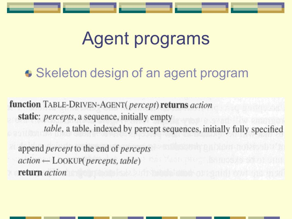 Agent programs Skeleton design of an agent program