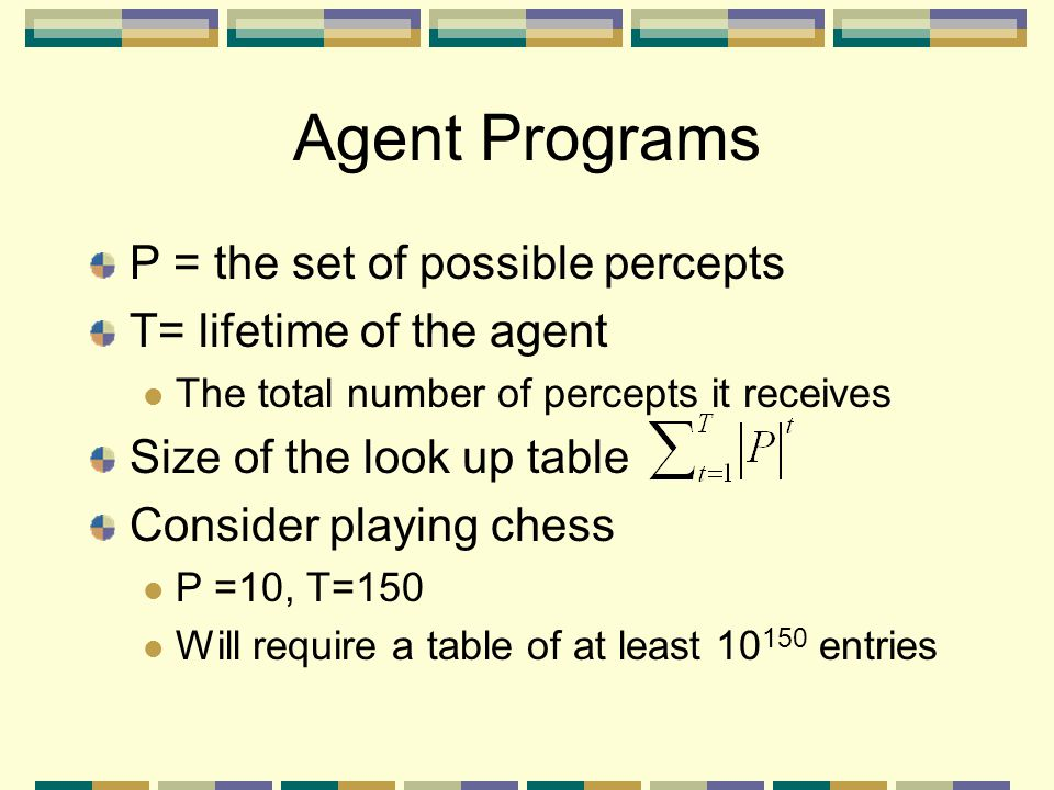 Agent Programs P = the set of possible percepts