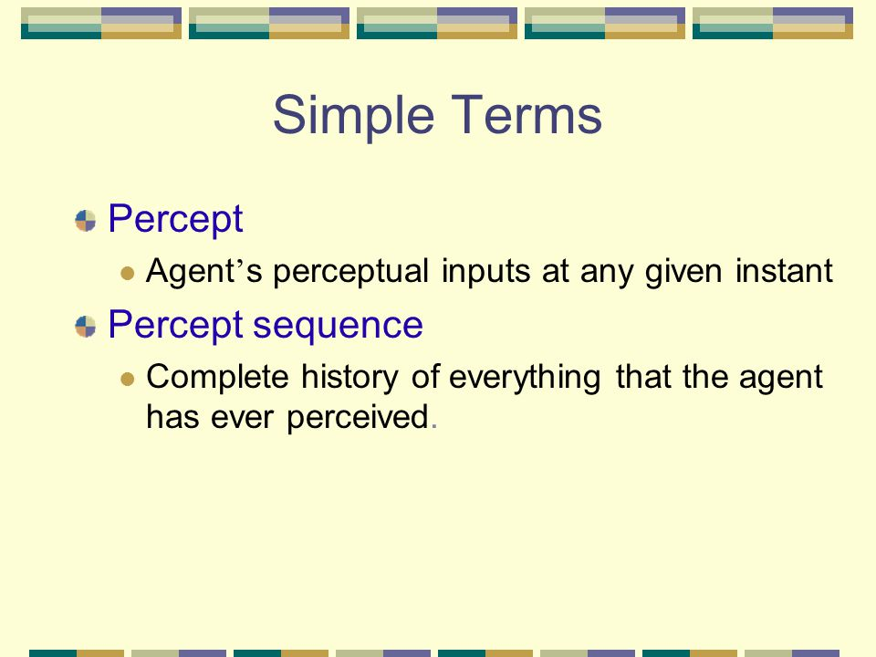 Simple Terms Percept Percept sequence