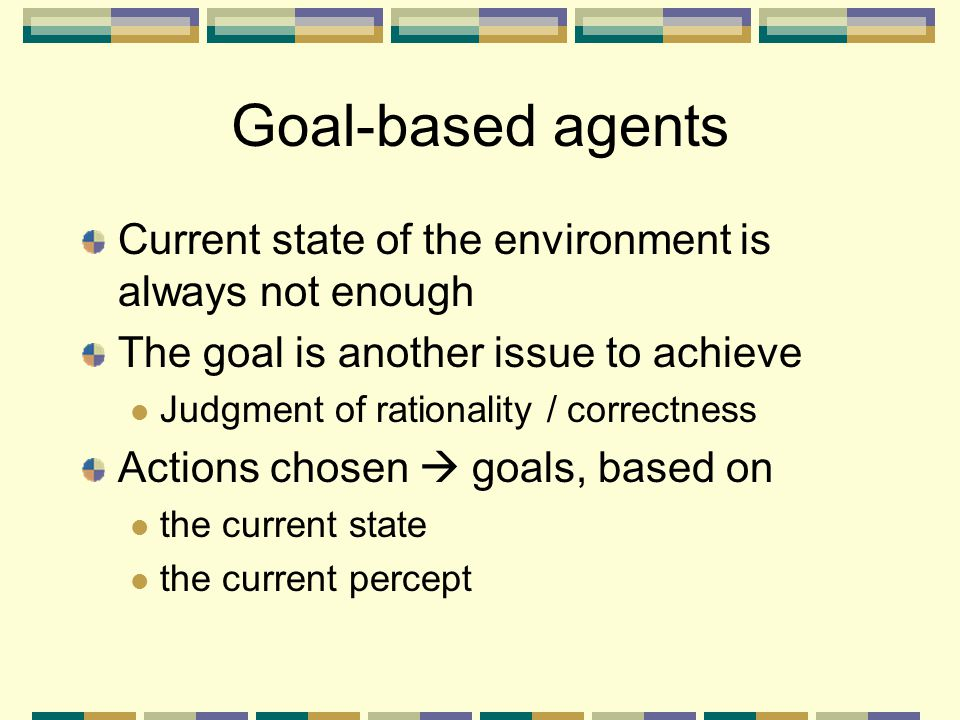 Goal-based agents Current state of the environment is always not enough. The goal is another issue to achieve.