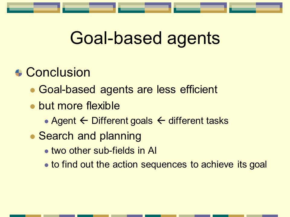 Goal-based agents Conclusion Goal-based agents are less efficient
