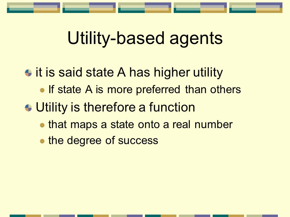 Utility-based agents it is said state A has higher utility