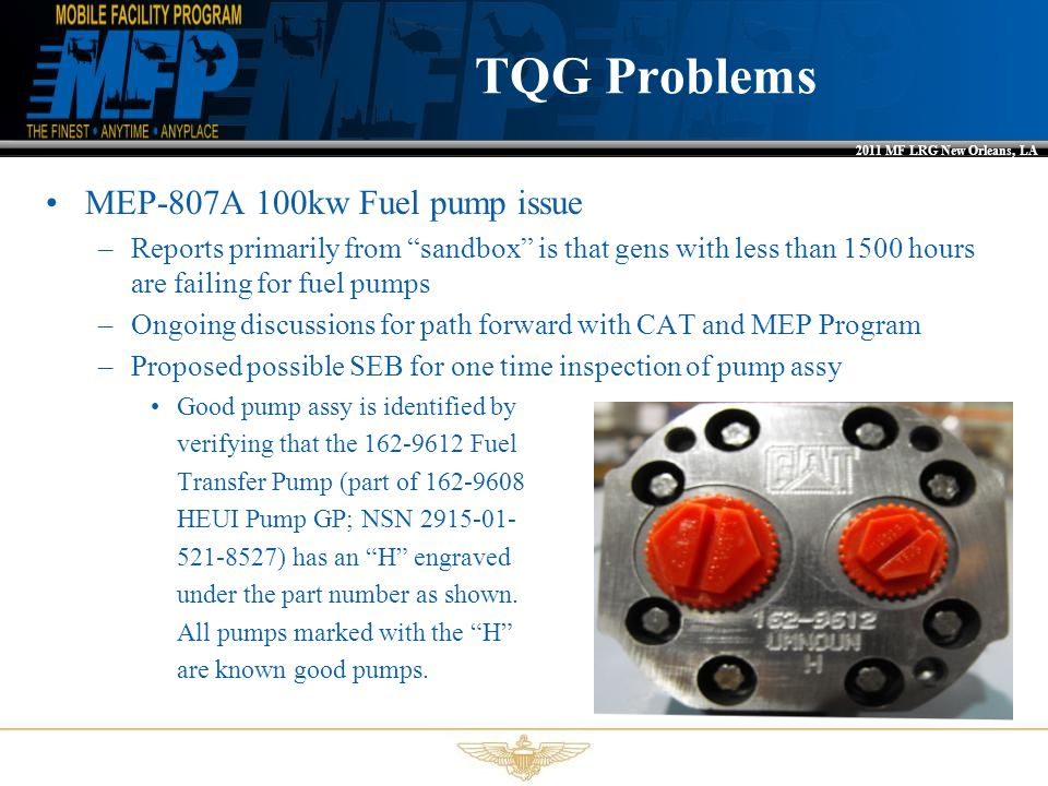 TQG Problems MEP-807A 100kw Fuel pump issue