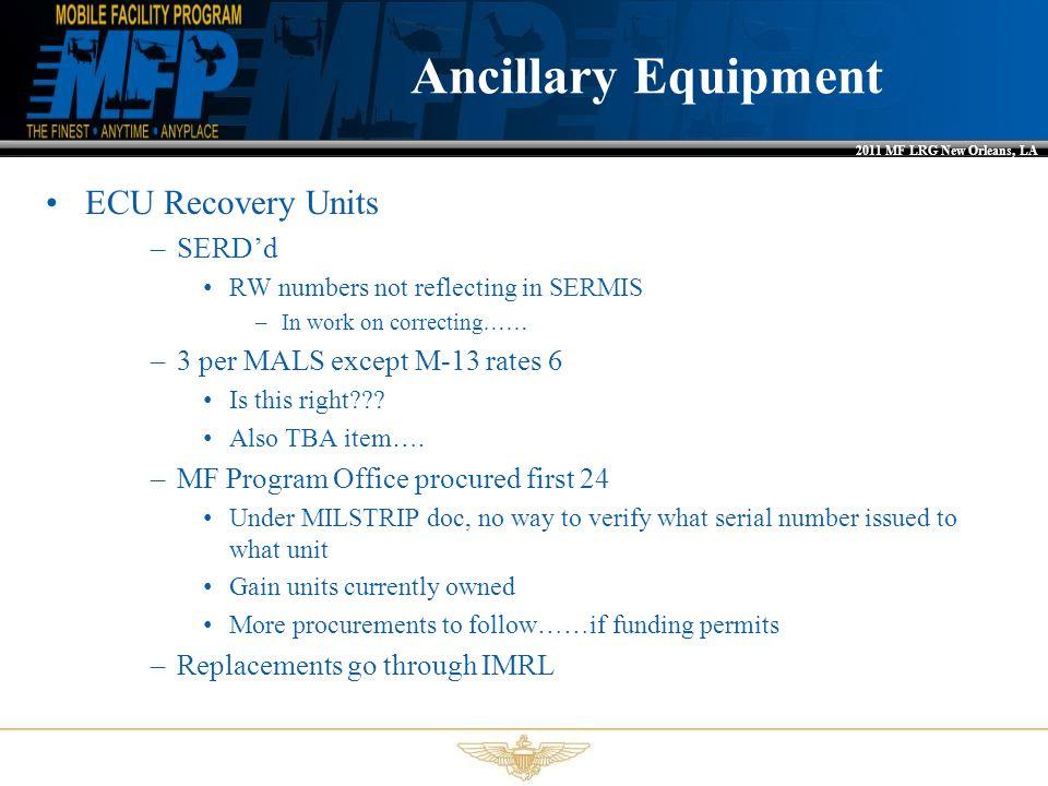 Ancillary Equipment ECU Recovery Units SERD'd