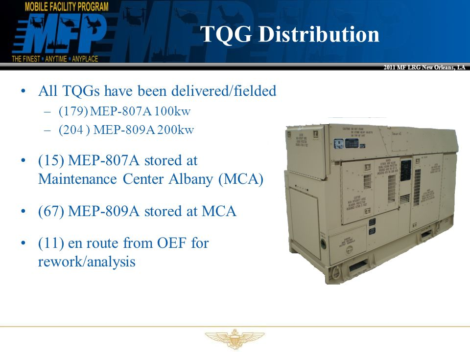 TQG Distribution All TQGs have been delivered/fielded