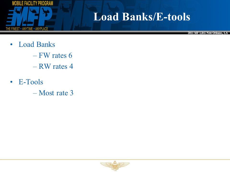 Load Banks/E-tools Load Banks FW rates 6 RW rates 4 E-Tools