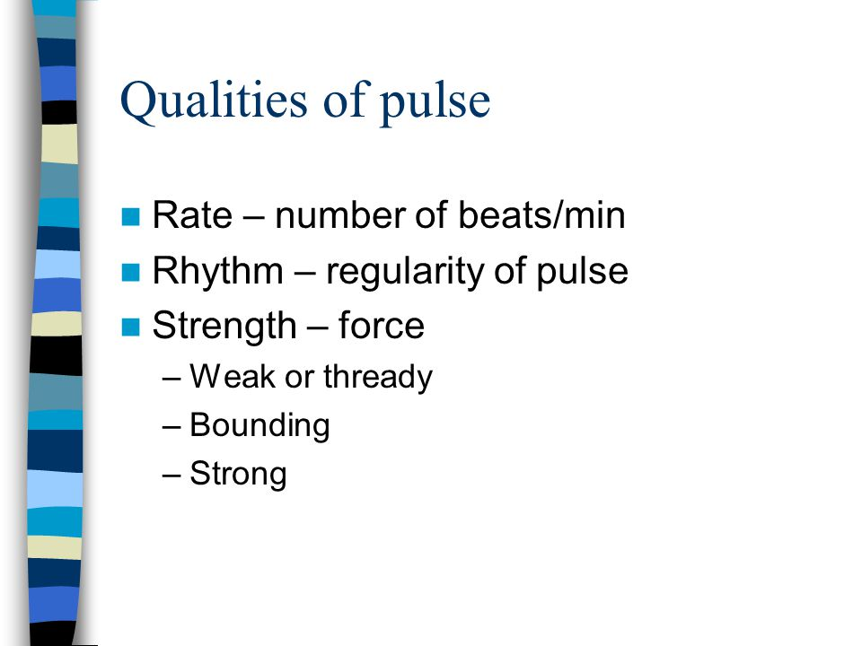 Qualities of pulse Rate – number of beats/min