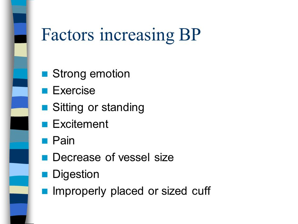 Factors increasing BP Strong emotion Exercise Sitting or standing