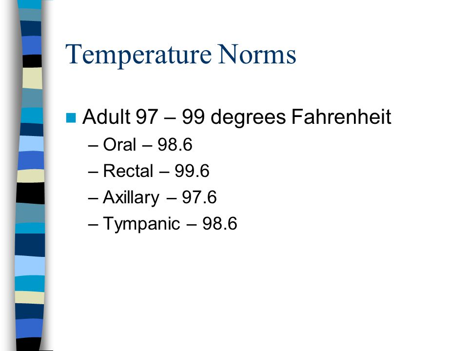 Temperature Norms Adult 97 – 99 degrees Fahrenheit Oral – 98.6