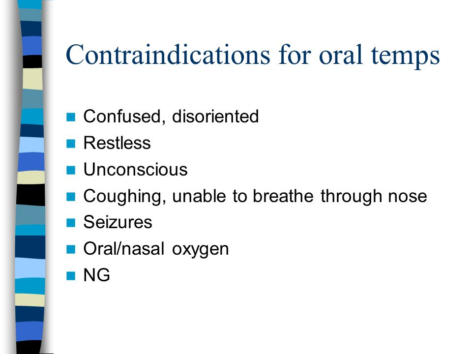 Contraindications for oral temps