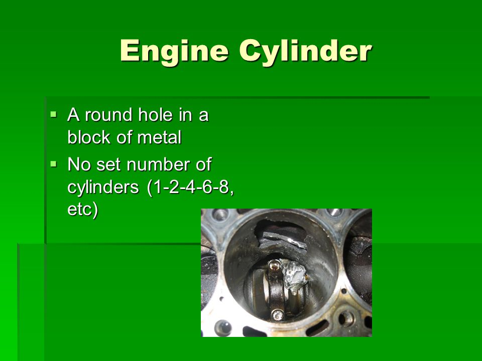 Engine Cylinder A round hole in a block of metal