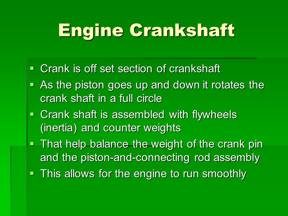 Engine Crankshaft Crank is off set section of crankshaft