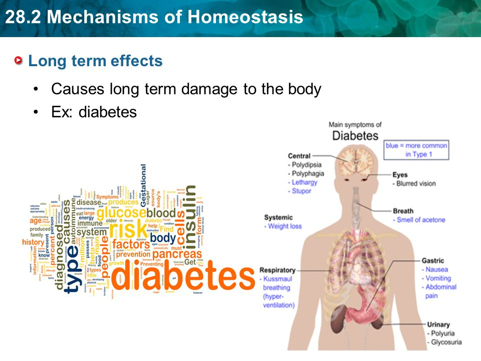 Long term effects Causes long term damage to the body Ex: diabetes