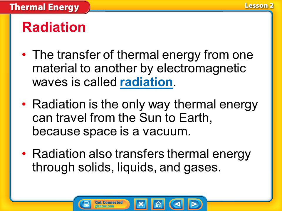 Radiation The transfer of thermal energy from one material to another by electromagnetic waves is called radiation.