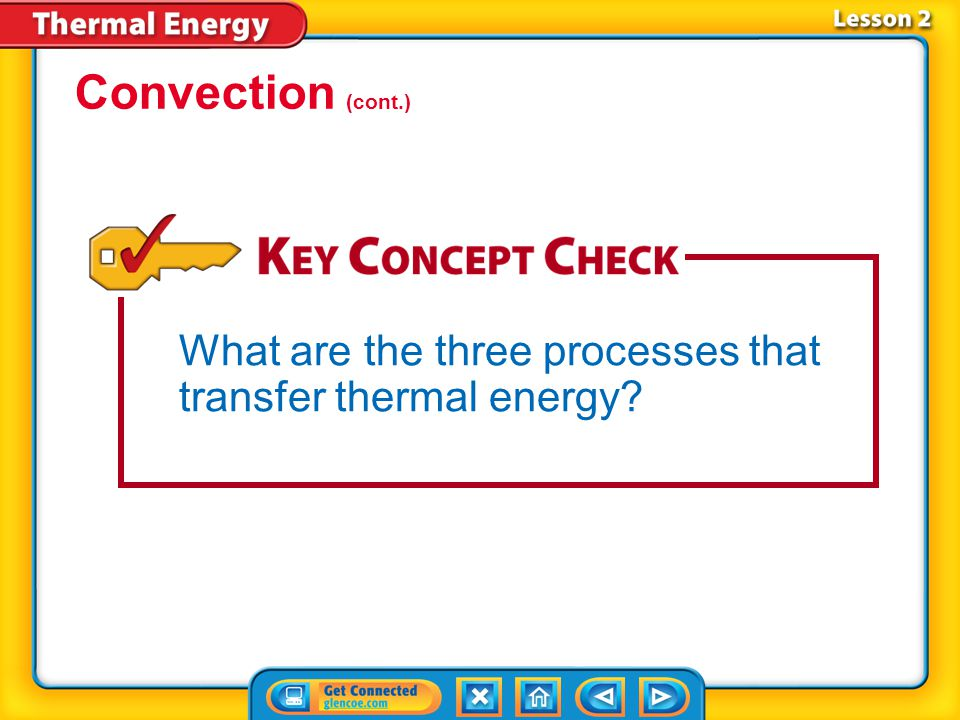 Convection (cont.) What are the three processes that transfer thermal energy Lesson 2-5
