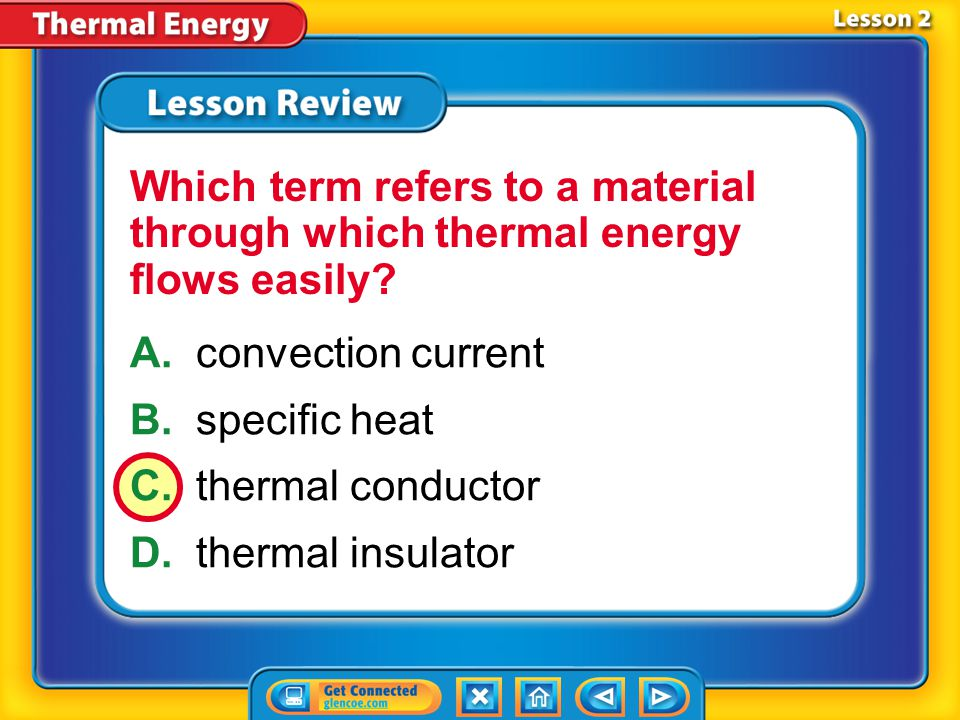 Which term refers to a material through which thermal energy flows easily