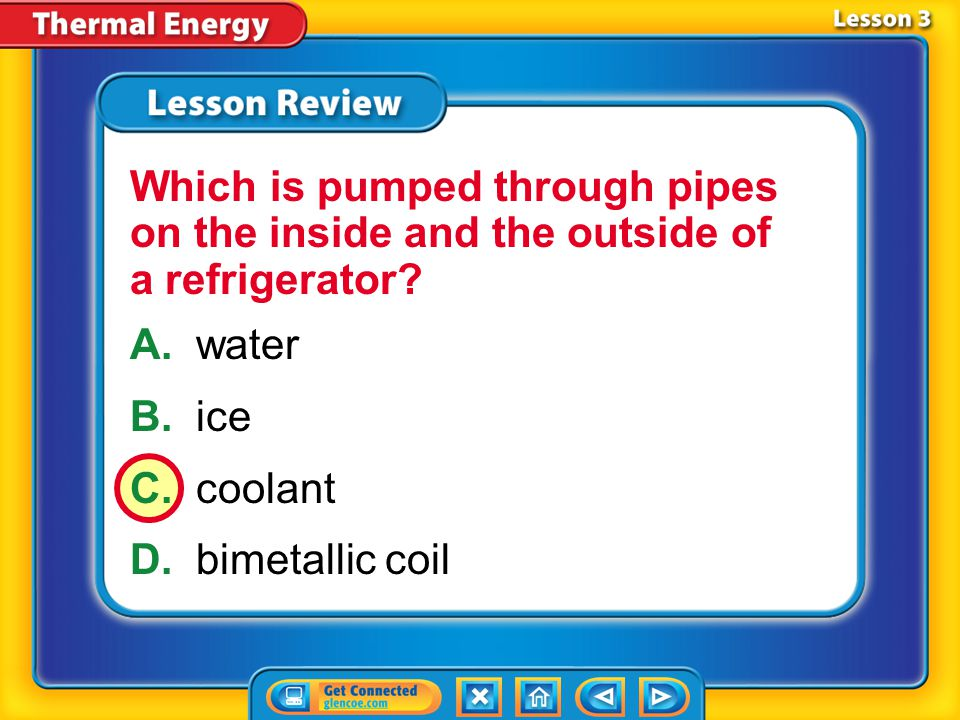 Which is pumped through pipes on the inside and the outside of a refrigerator