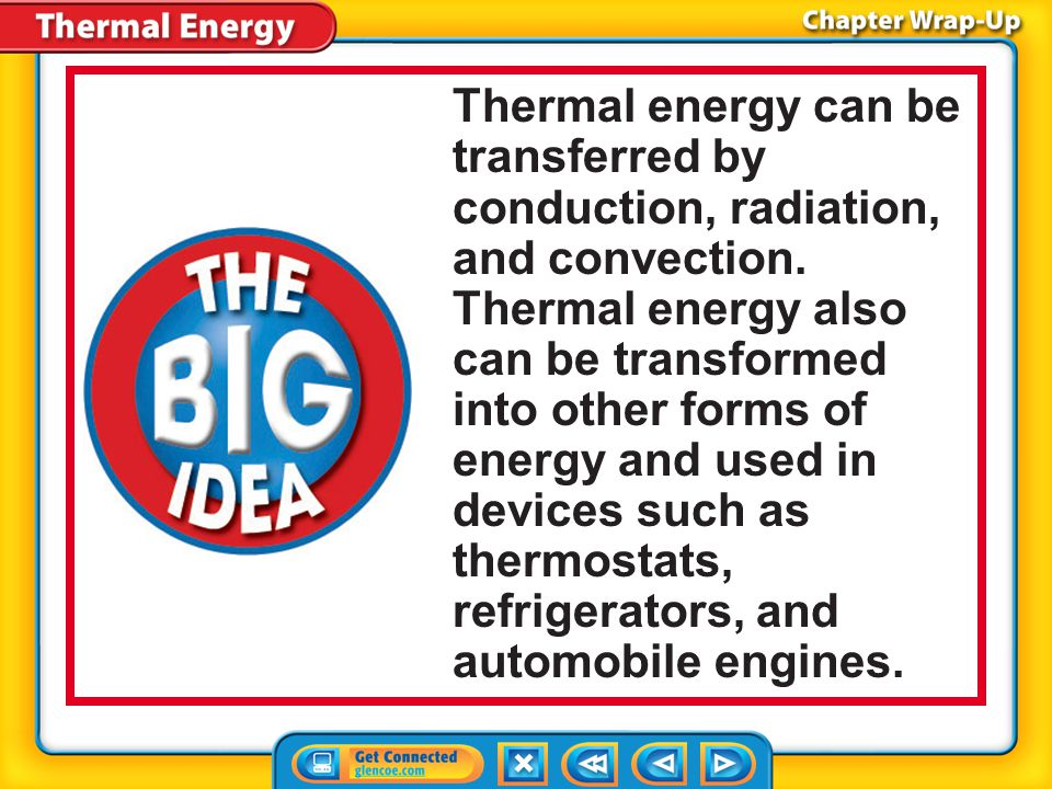 Thermal energy can be transferred by conduction, radiation, and convection. Thermal energy also can be transformed into other forms of energy and used in devices such as thermostats, refrigerators, and automobile engines.