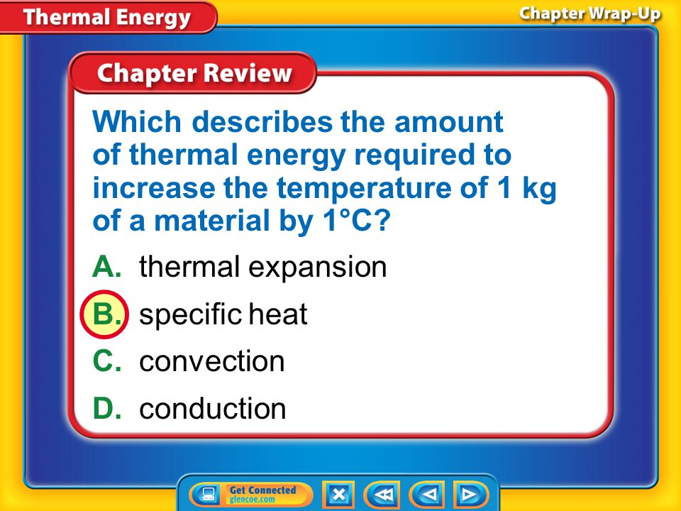 Which describes the amount of thermal energy required to increase the temperature of 1 kg of a material by 1°C