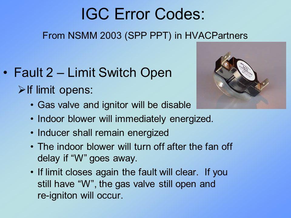 IGC Error Codes: From NSMM 2003 (SPP PPT) in HVACPartners