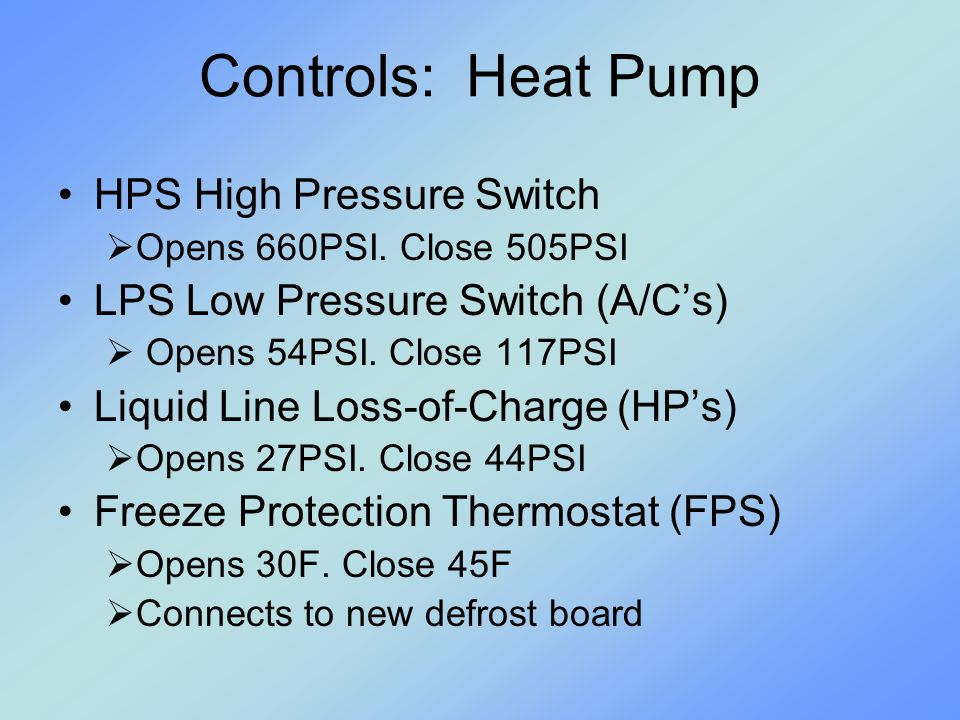 Controls: Heat Pump HPS High Pressure Switch