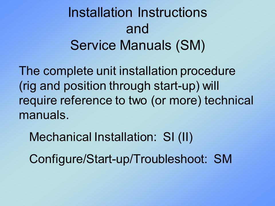 Installation Instructions and Service Manuals (SM)