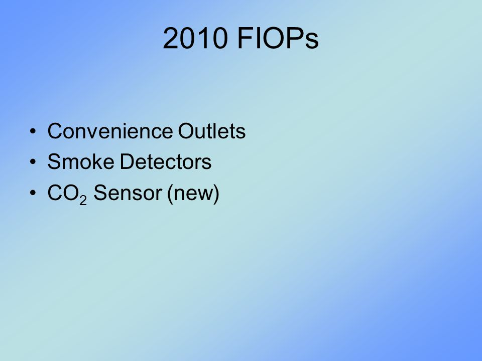 2010 FIOPs Convenience Outlets Smoke Detectors CO2 Sensor (new)
