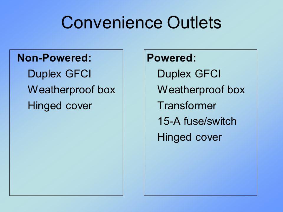 Convenience Outlets Non-Powered: Duplex GFCI Weatherproof box