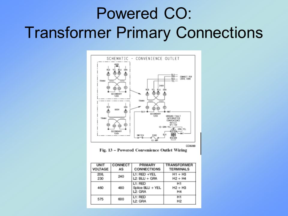 Powered CO: Transformer Primary Connections