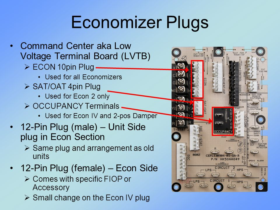 Economizer Plugs Command Center aka Low Voltage Terminal Board (LVTB)
