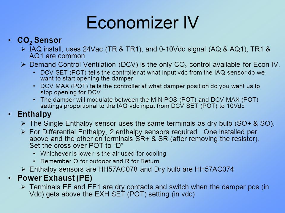 Economizer IV CO2 Sensor Enthalpy Power Exhaust (PE)