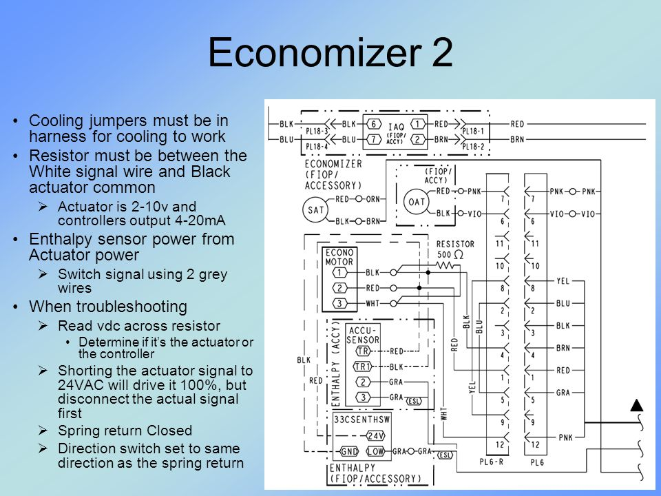 Economizer 2 Cooling jumpers must be in harness for cooling to work