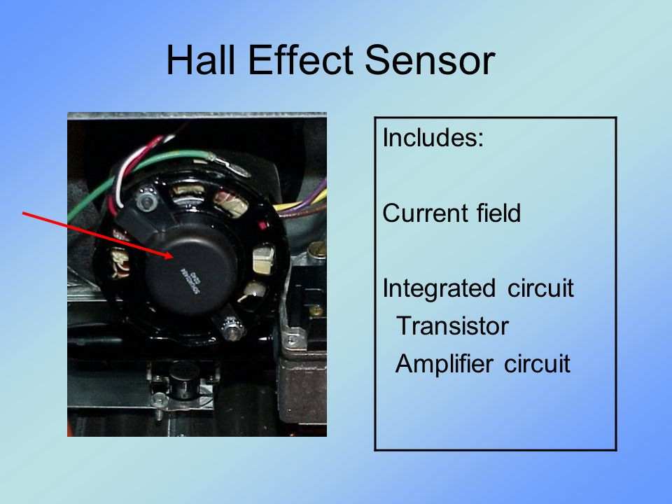 Hall Effect Sensor Includes: Current field Integrated circuit