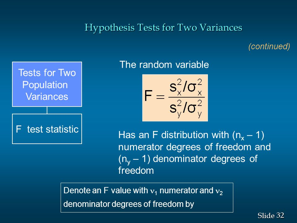 Hypothesis Tests for Two Variances