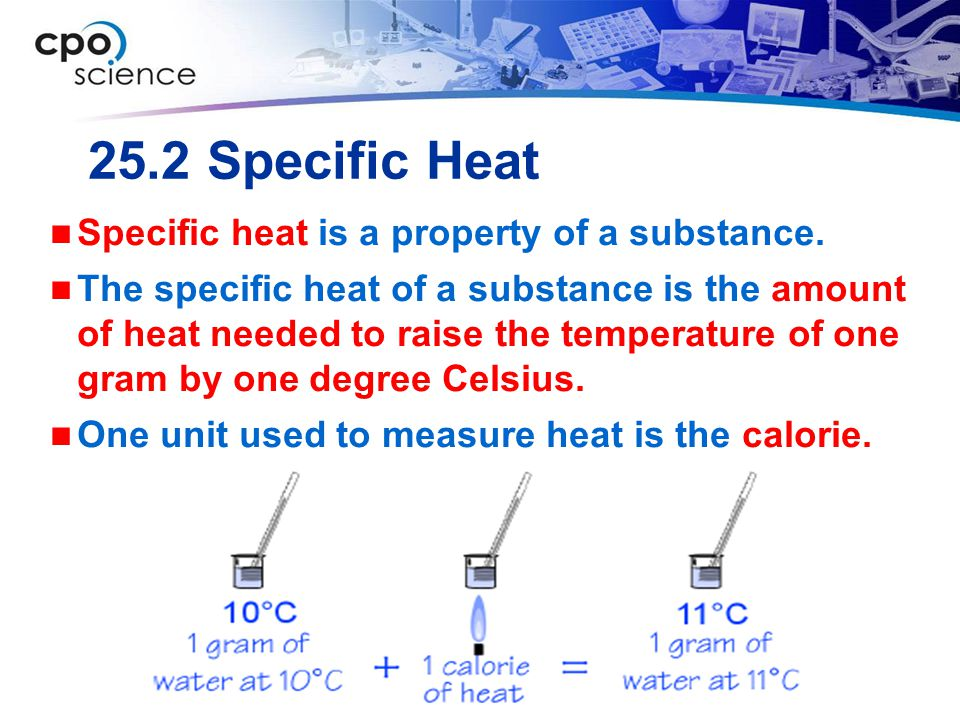 25.2 Specific Heat Specific heat is a property of a substance.