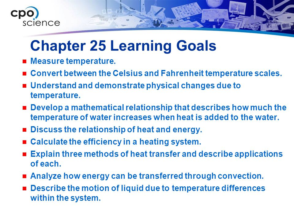 Chapter 25 Learning Goals