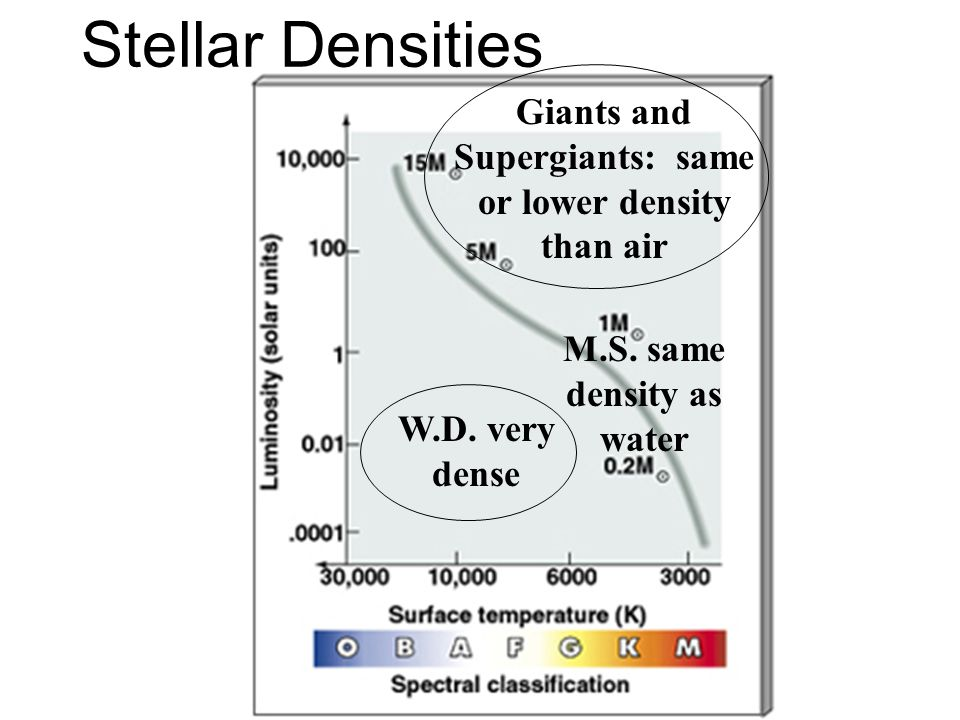 Stellar Densities Giants and Supergiants: same or lower density than air. M.S. same density as water.