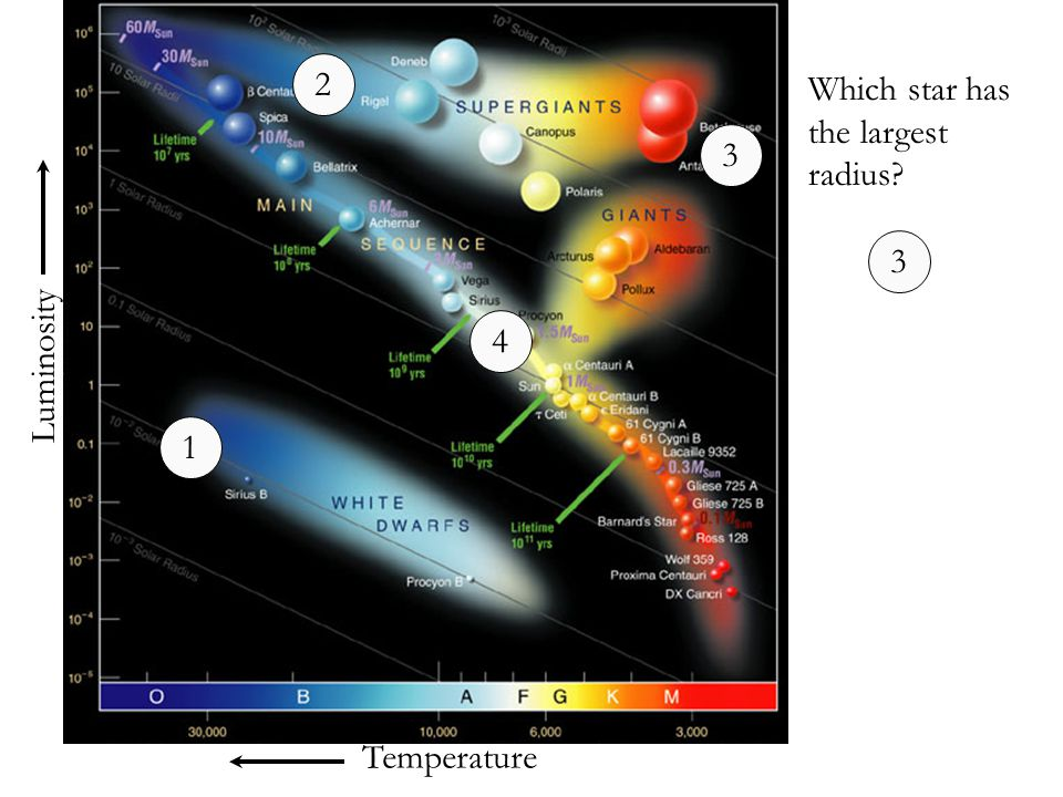 2 Which star has the largest radius 3 3 4 Luminosity 1 Temperature