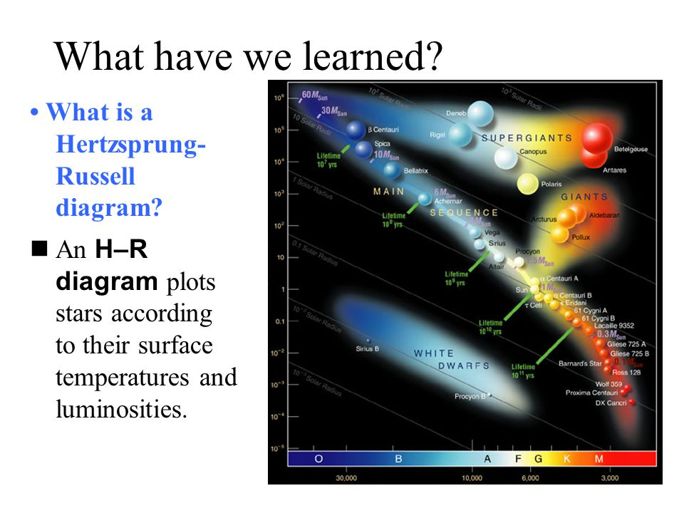 What have we learned • What is a Hertzsprung-Russell diagram