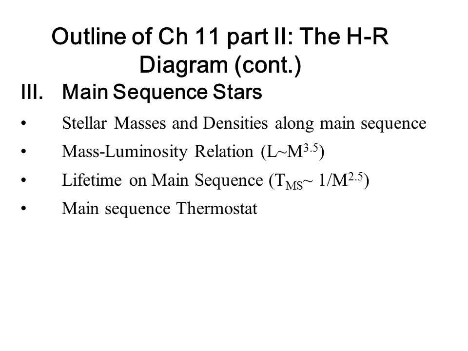 Outline of Ch 11 part II: The H-R Diagram (cont.)