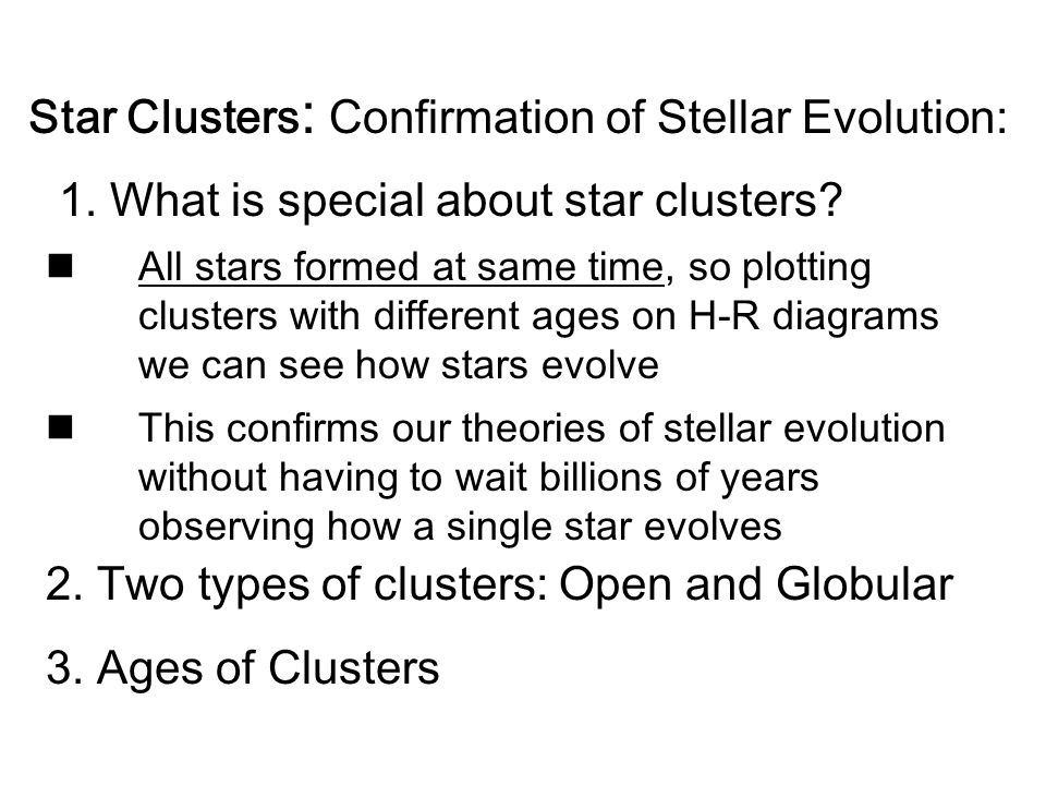 Star Clusters: Confirmation of Stellar Evolution: