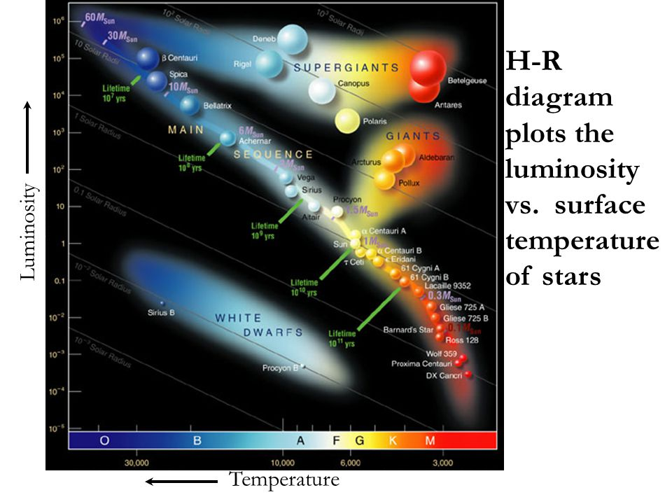 H-R diagram plots the luminosity vs. surface temperature of stars
