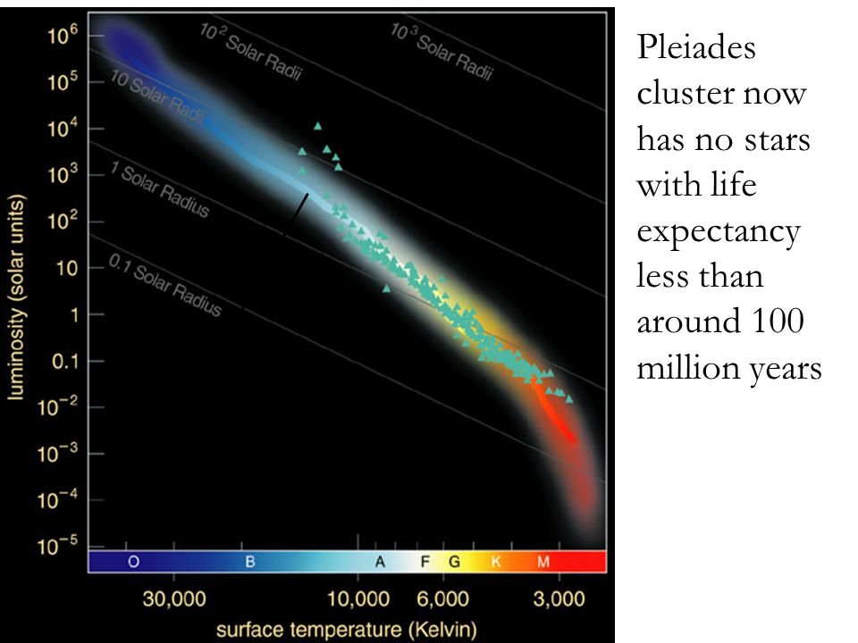 Pleiades cluster now has no stars with life expectancy less than around 100 million years