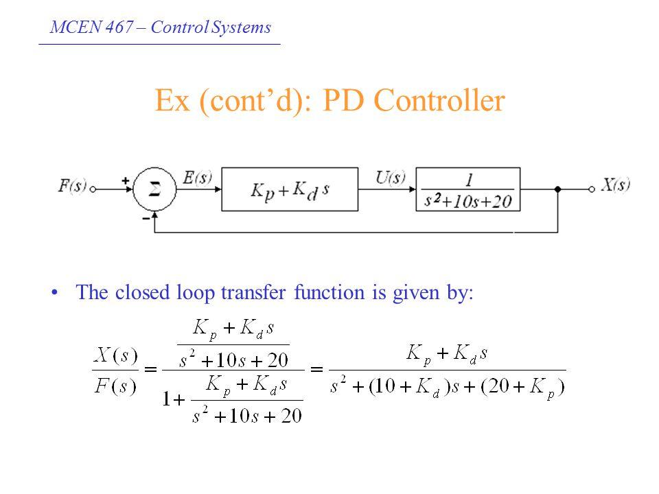 Ex (cont'd): PD Controller
