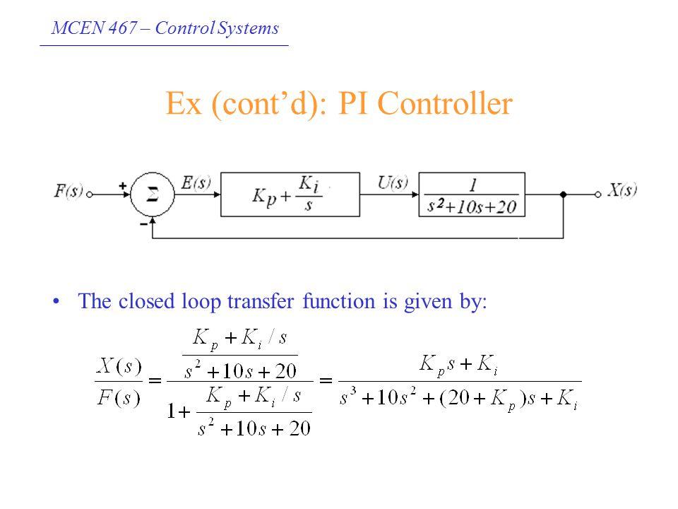 Ex (cont'd): PI Controller
