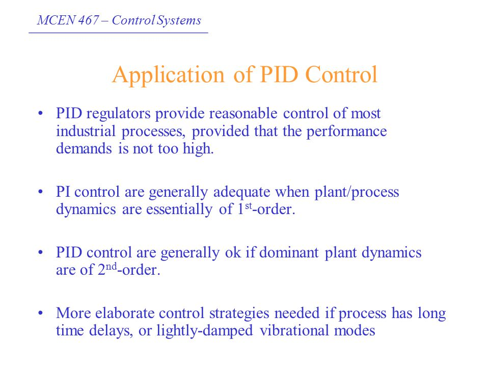 Application of PID Control