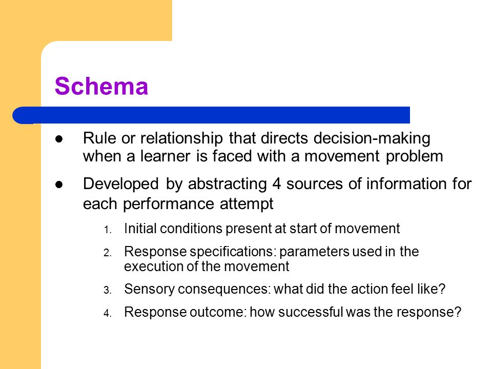 Schema Rule or relationship that directs decision-making when a learner is faced with a movement problem.