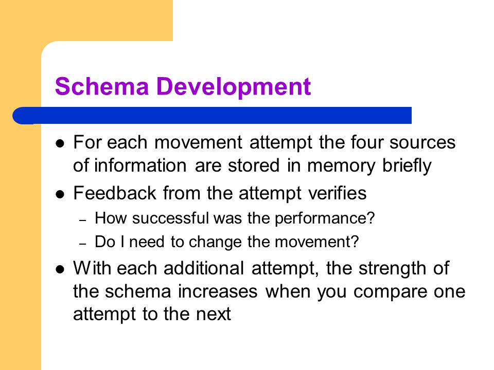 Schema Development For each movement attempt the four sources of information are stored in memory briefly.